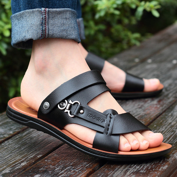 Men's Line Stitched Leather Sandals