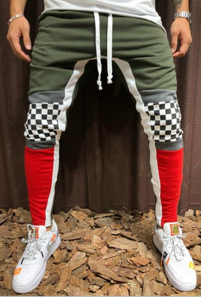 Men's Retro Style Checkered Knee Joggers