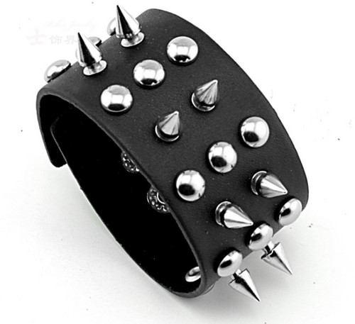 Men's Punk Style Spiked & Clawed Leather Wristbands