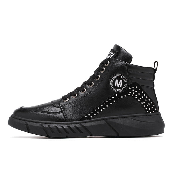 Men's Shallow Mouth Solid High Top Sneakers