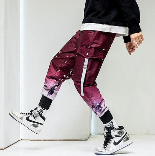 Men's Splash Gradient Style Cargo Pants