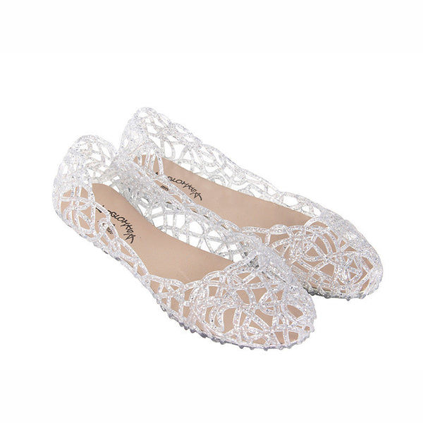 Women's Vintage Style Hollow Out Foldable Shoes w/ Glitter Finish