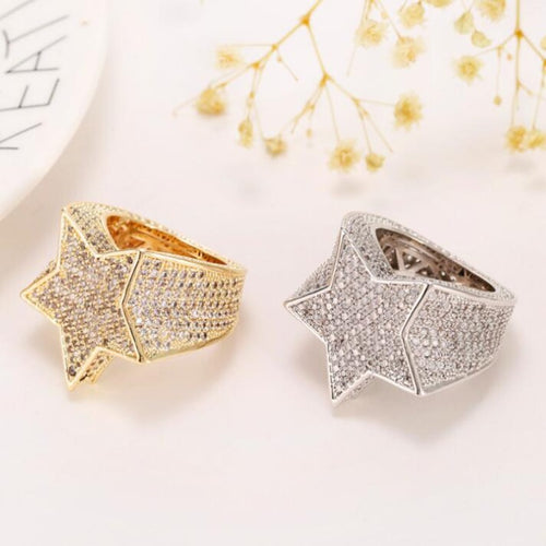 Men's Diamond Encrusted Five Pointed Star Ring