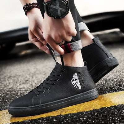 Men's Urban Style Solid Black Casual Shoes