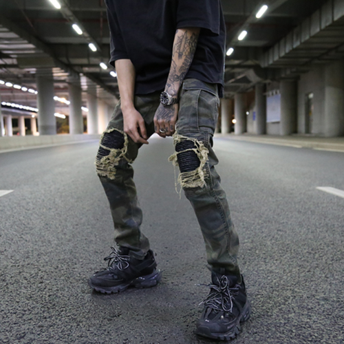 Men's Ripped Biker Style Camouflage Cargo Pants