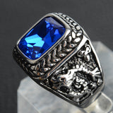 Men's Retro Style Gemmed Dragon Ring