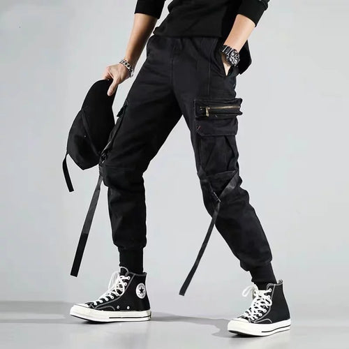 Men's Multi-Pocket Zip & Harness Cargo Pants