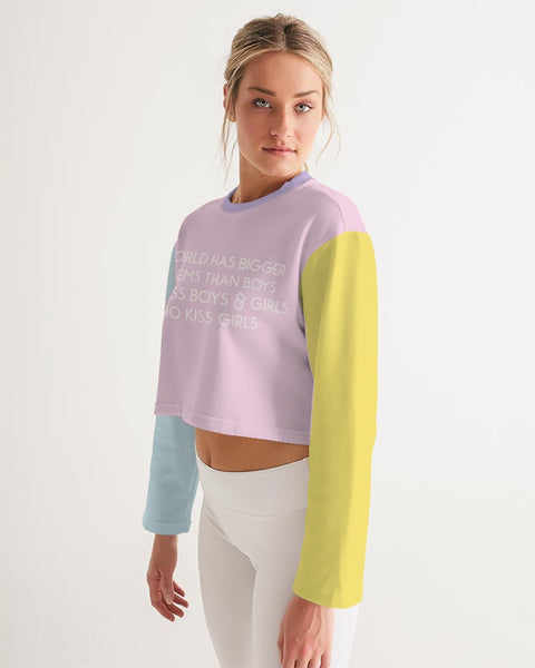 Women's Long Sleeve Tetra Color 'The World Has Bigger Problems..' Cropped Tee