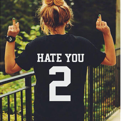Women's Epic Short Sleeve 'Hate You 2' Printed Letter Tee - Erbana 88