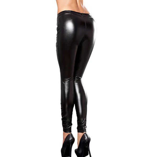Women's Hollow Out Bandaged Gothic Style Leggings w/ Laced-Up Ribbon Design - Erbana 88