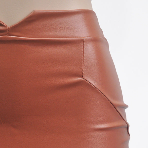 Women's High Waist Chic Faux Leather Pencil Skirt w/ Empire Waistline