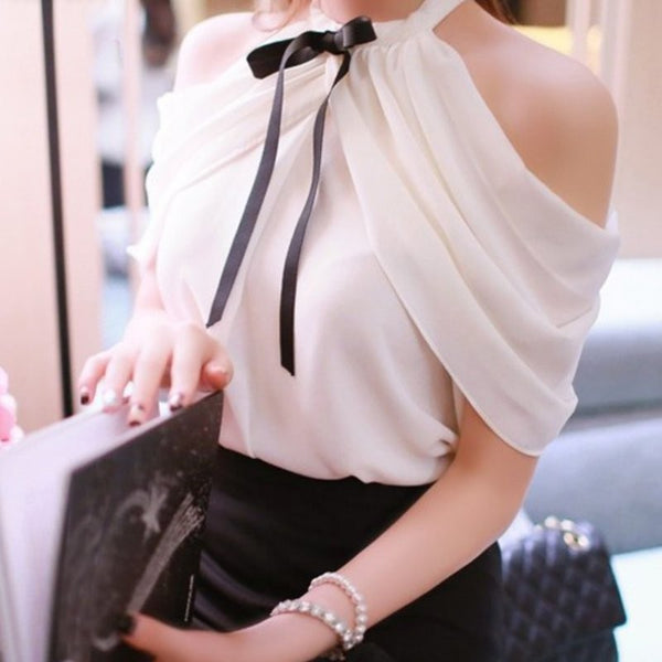 Women's Elegant Chic Off Shoulder Chiffon Halter Blouse w/ Bow Finish - Erbana 88