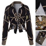 Women's Vintage Long Sleeve Blouse w/ Chain Print - Erbana 88