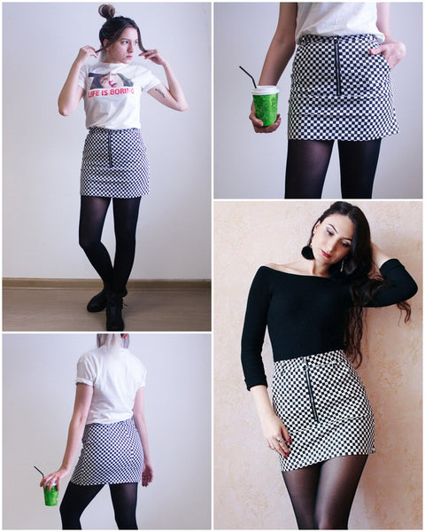 Women's Vintage Checker Board Pencil Mini Skirt