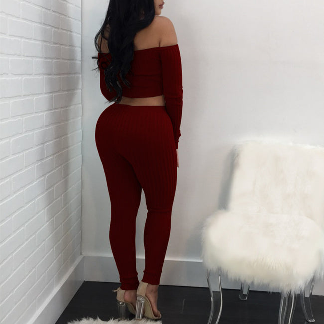 Women's Two Piece High Elastic Off Shoulder Crop Top & Ankle Length Leggings