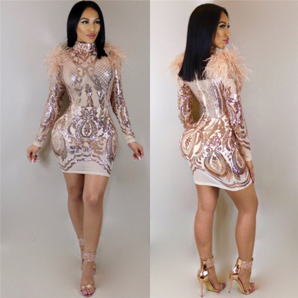 Women's Transparent Long Sleeve Turtleneck Bodycon Dress w/ Sequined Design & Feather Trimmings