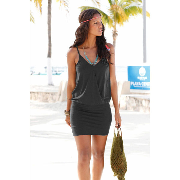 Spaghetti Strap Women's V-Neck Mini Beach Dress