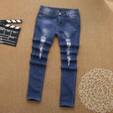 Women's Skinny High Waist Ripped Denim Stretch Jeans - Erbana 88
