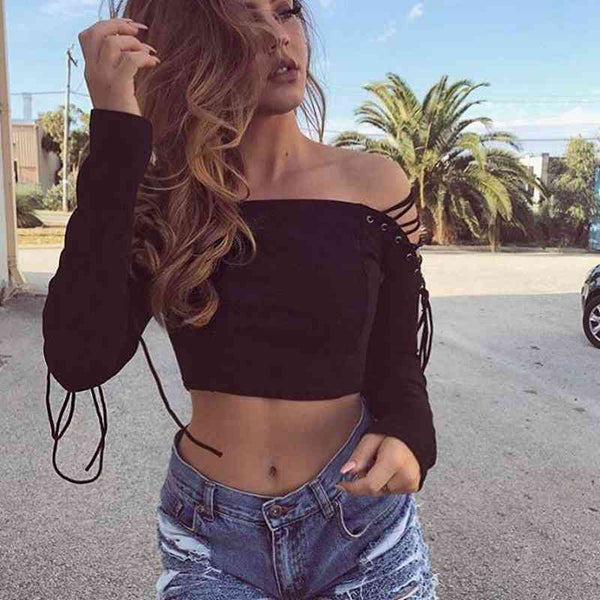 Women's Chic Off Shoulder Long Sleeve Laced-Up Top