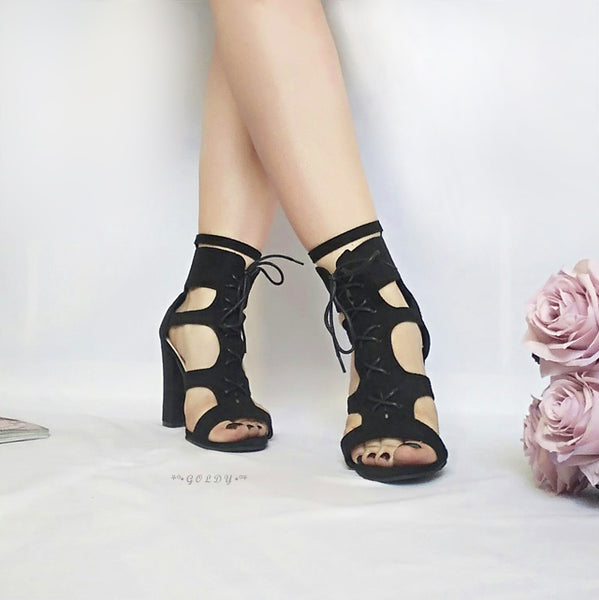 Women's Ankle High Bandaged Cross Wrap Suede High Heels