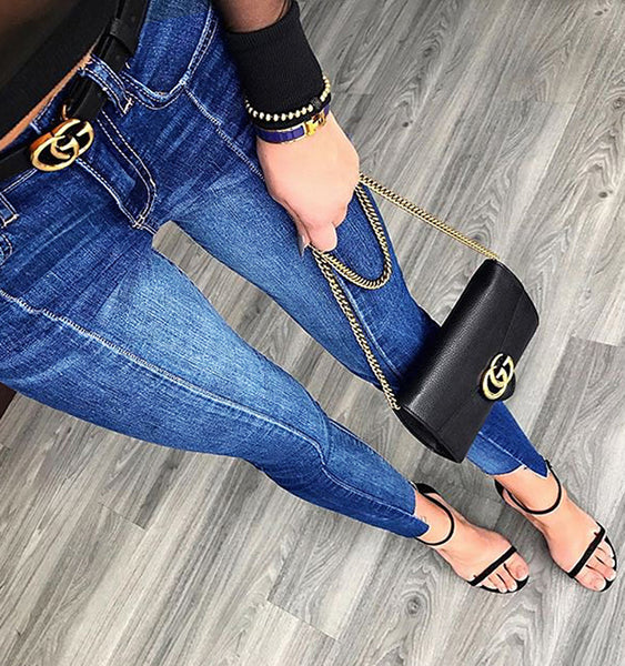 Women's Mid Waist Irregular Ankle-Length Pencil Blue Boyfriend Jeans