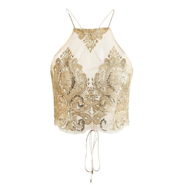 Women's Transparent Halter Mesh Top w/ Floral Embroidery - Erbana 88