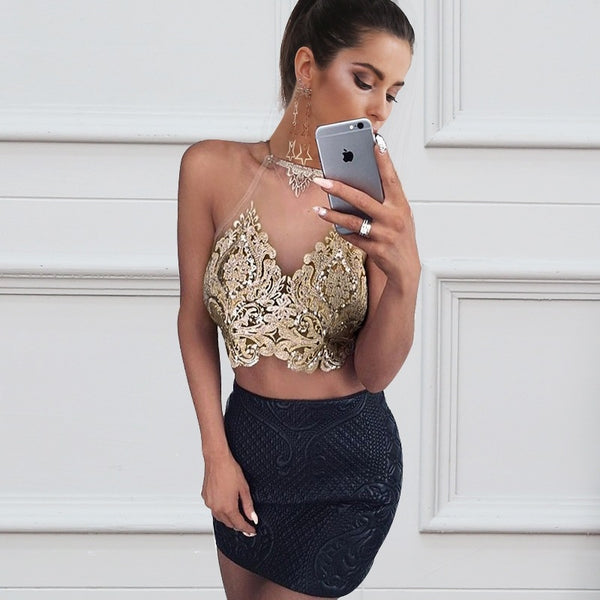 Women's Transparent Halter Mesh Top w/ Floral Embroidery