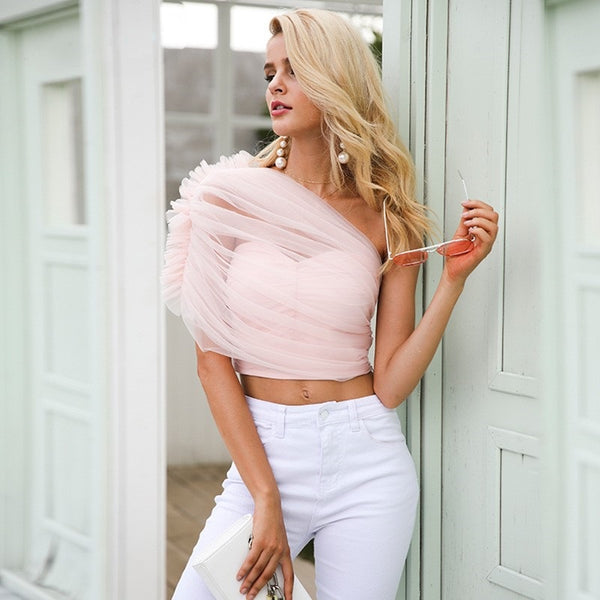 Women's Elegant Ruffled Cold Shoulder Blouse w/ Lace Lining - Erbana 88