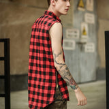 Men's Urban Style Skater Plaid Shirt w/ Gold Side Zipper Embellishment - Erbana 88