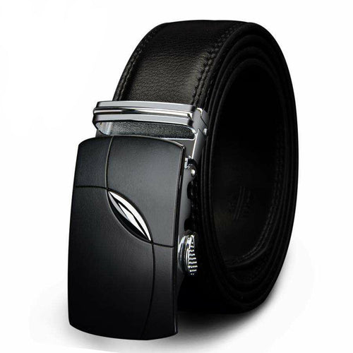 Men's Genuine Black Leather Belt w/ Automatic Alloy Buckle