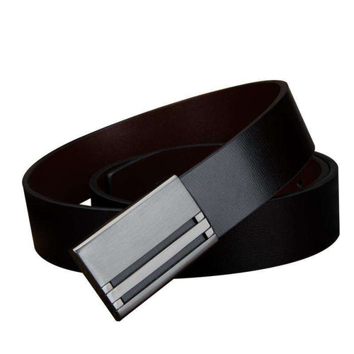 Men's Leather Belt w/ Titanium Plated Automatic Buckle