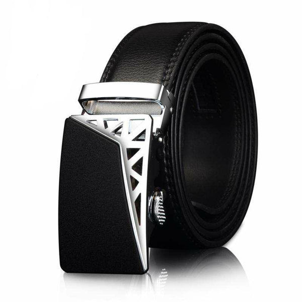 Men's Genuine Leather Belt w/ Partial Silver Cage Buckle