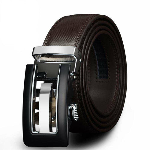 Men's Genuine Leather Belt w/ Silver & Black Buckle