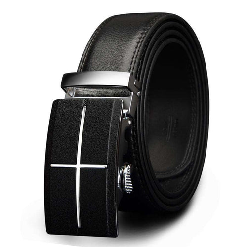 Men's Genuine Leather Belt w/ Cross Design Buckle