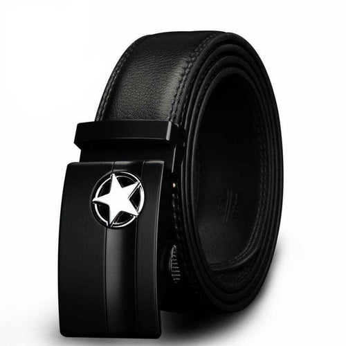 Men's Designer Belt w/ Genuine Leather & Star Buckle