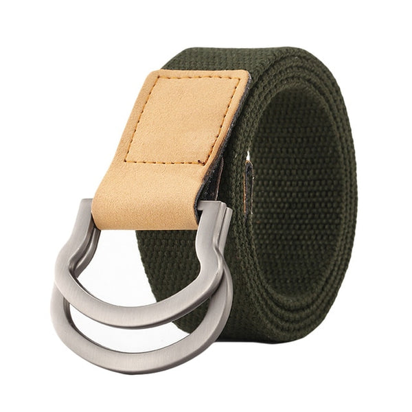 Dual Stainless Steel Alloy Buckle Handmade Canvas & Leather Belt - Erbana 88