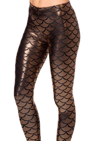 Women's Mermaid Fish Scale Elastic Pencil Style Leggings