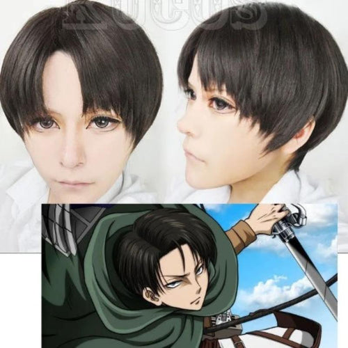ATTACK ON TITAN'S Levi Short Haired Wig & Cap