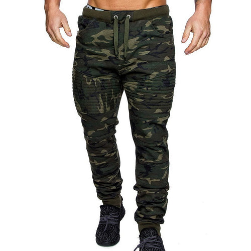 Men's Retro Biker Style Camouflage Joggers w/ Drawstring