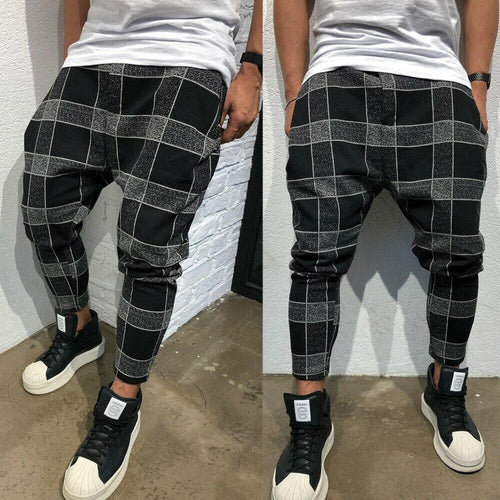 Men's Casual Urban Style Straight Legged Plaid Baggy Joggers - Erbana 88