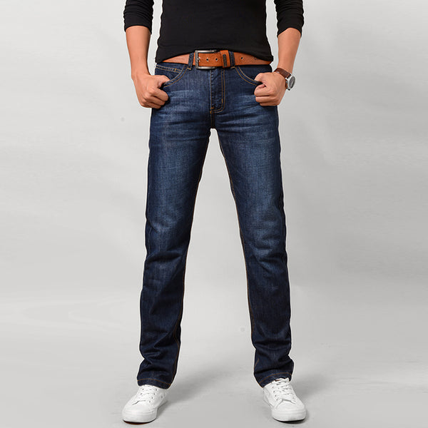 Slim Straight Midweight Denim Jeans w/ Stripe Fabric - Erbana 88