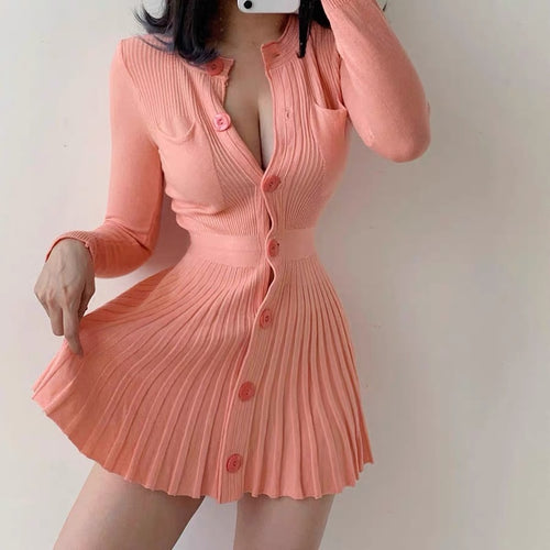 Women's Subtly Cute Pleated Button Down Long Sleeve Dress