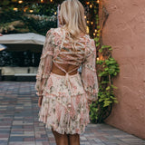 Women's Ultra Chic Floral Print Sun Dress w/ Laced Back