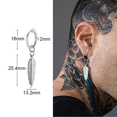 Men's Silver Grunge Style Hooped Feather Drop Earring