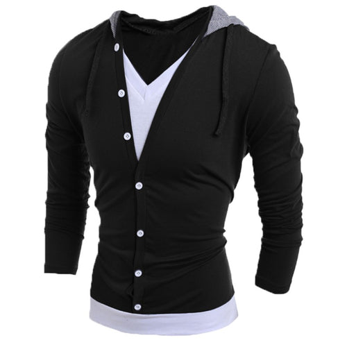 Men's High Quality Casual Slim Long Sleeve V-Neck Hoodie - Erbana 88