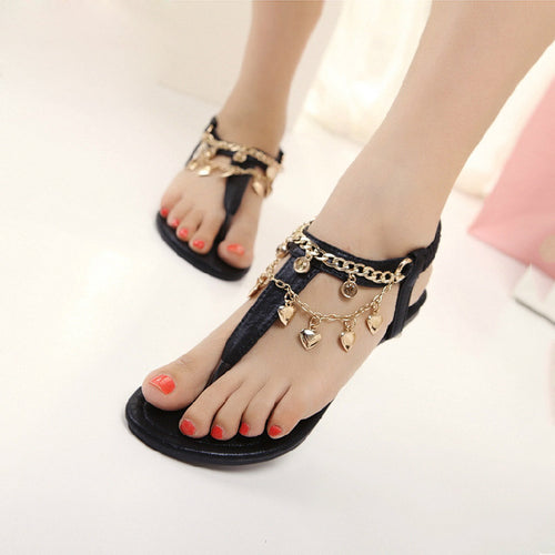 Women's T-Shape Gladiator Sandals w/ Charm Link Design - Erbana 88