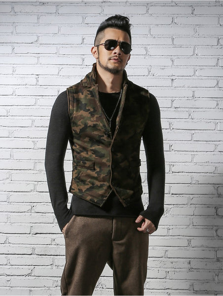 Men's Sleek Military Style Casual Slim Fitted Urban Camouflage Vest