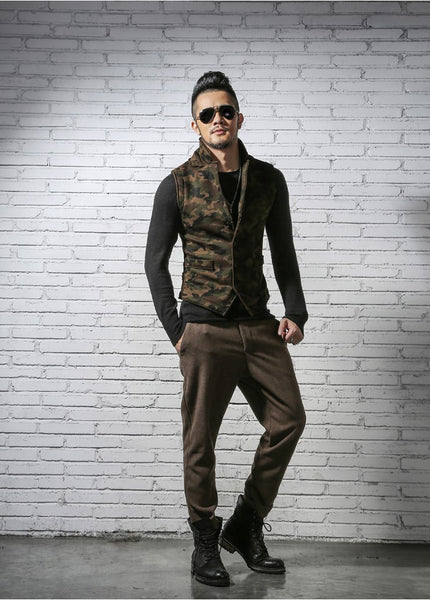 Men's Sleek Military Style Slim Fit Urban Camouflage Vest - Erbana 88