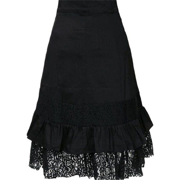 Women's Steampunk Gothic Lace Skirt w/ Buckle & Metallic Button Design - Erbana 88