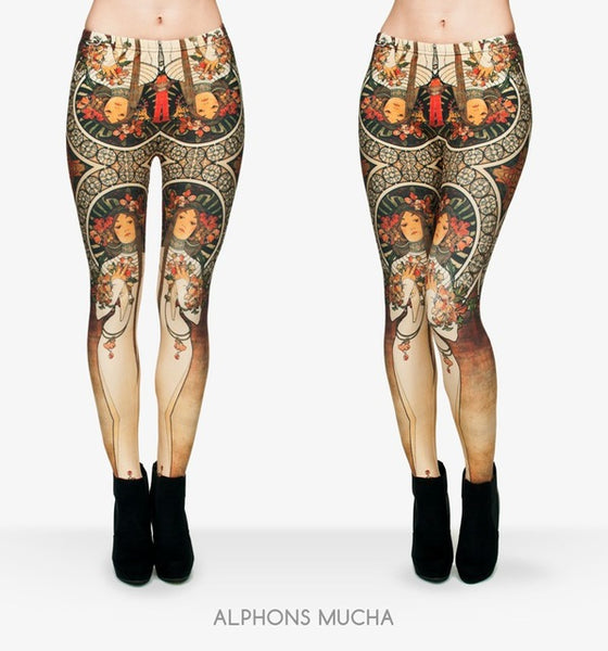 Women's Ankle Length Alphons Mucha Print Leggings - Erbana 88